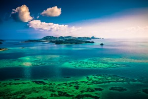 fiji seaplane coral island